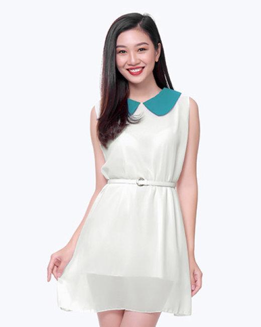 Đầm Suông Cổ Sen Kèm Nịt Sắc Màu