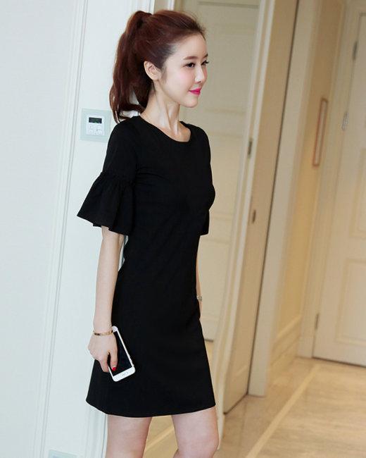 Đầm Suông Nhún Tay Loe Elly
