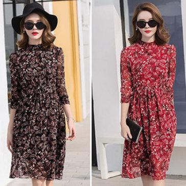 Đầm Hoa Midi Tay Bo Fashion