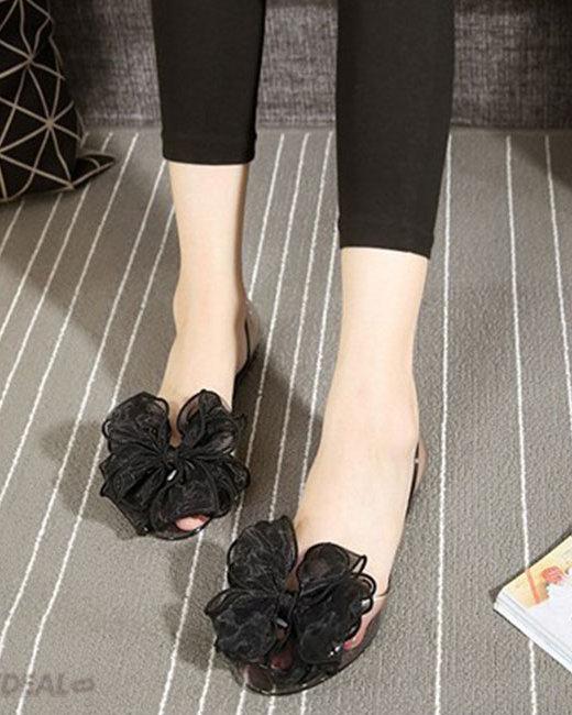 Giày Búp Bê Nhựa Dẻo Đính Nơ Xinh Xắn
