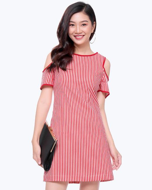 Đầm Suông Sọc Cut Vai-08702-TH Sơn Nguyễn