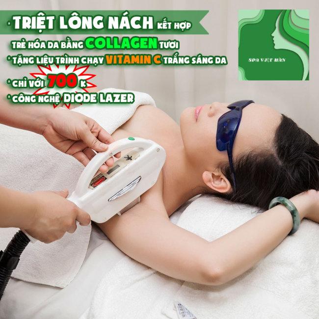 HT Spa Việt Hàn - Triệt Lông Nách Kết Hợp Trẻ Hóa Da - BH 10 Năm
