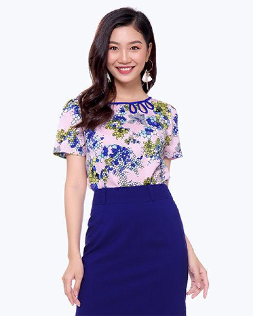 Áo Kiểu Cổ Giọt Nước 07103- TH Sơn Nguyễn