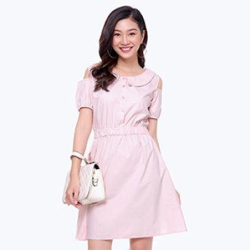 Đầm Xòe Bo Eo Phối Nơ Lưng
