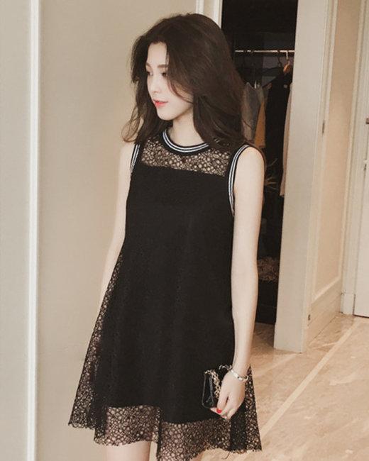 Đầm Ren Oversize Bo Cổ
