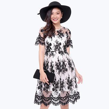 Đầm Ren Tuyết Vintage