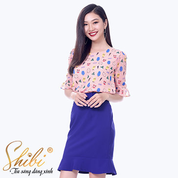 Áo Kiểu Họa Tiết Shibi SA004