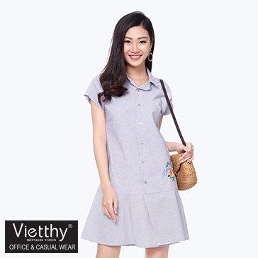 Đầm Sơ Mi Lai Bèo Thêu Hoa 8300068 Thương Hiệu Việt Thy
