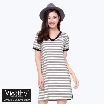 Đầm Kẻ Ngang Viền Bo 8300052 Thương Hiệu Việt Thy