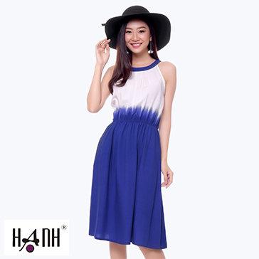 Đầm Cổ Yếm Pha Màu Thời Trang Hạnh