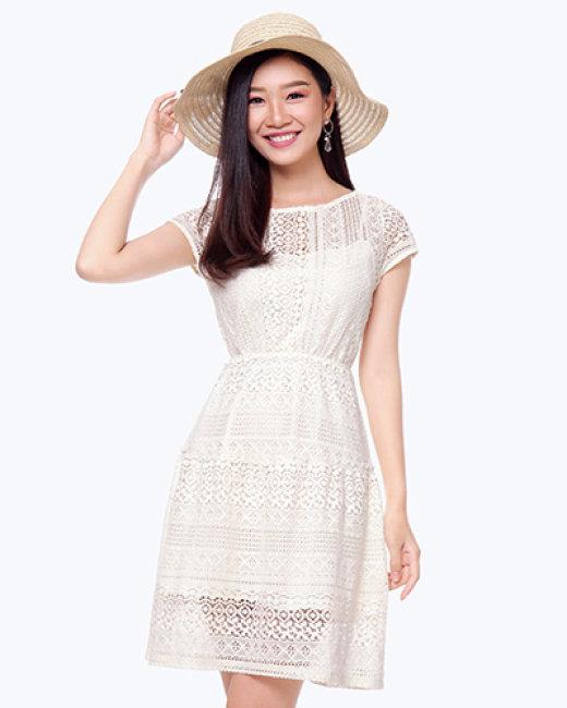 Đầm Ren Nhún Hông 8300047 Thương Hiệu Việt Thy