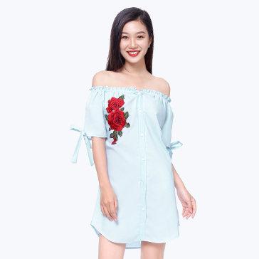 Đầm Sơ Mi Bẹt Vai Thêu Hoa