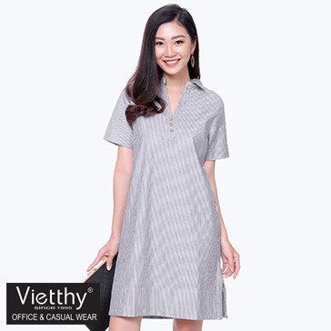 Đầm Cổ V Xẻ Tà 8300072 Thương Hiệu Việt Thy