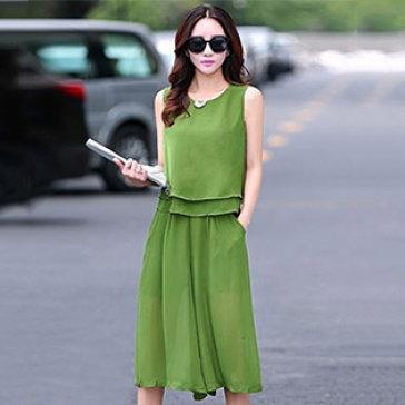 Set Quần Culottes + Áo 2 Lớp Fashion