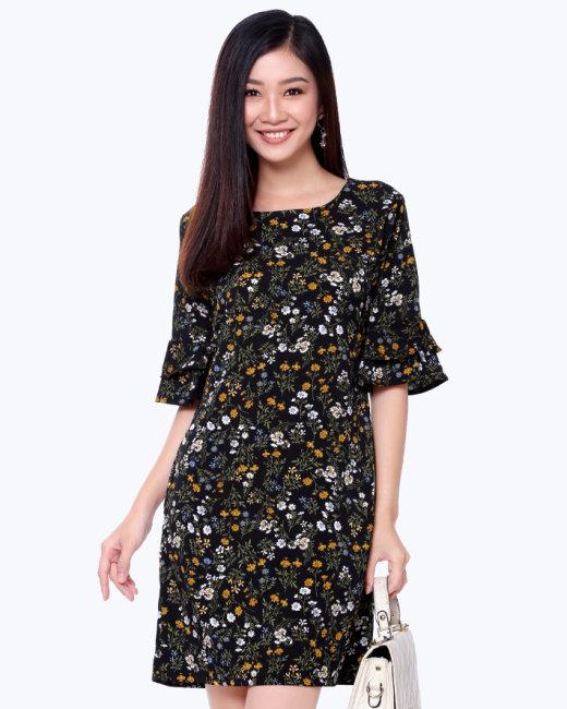 Đầm Suông Tay Loe Xẻ Túi