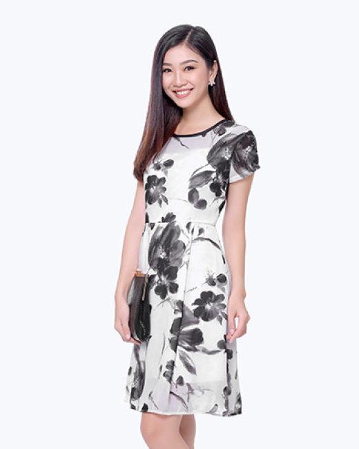 Đầm Hoa Cổ Tròn Phối Viền