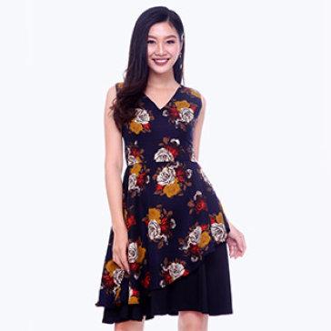 Đầm Hoa Vạc Cách Điệu