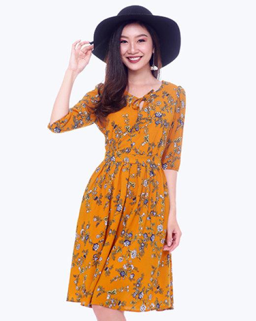 Đầm Dự Tiệc Họa Tiết Hoa Tay Bo Shibi SB101