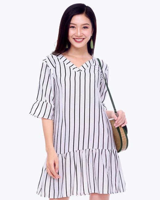 Đầm Kẻ Sọc Cổ V Tay Loe Thời Trang