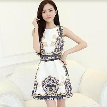 Đầm Gấm Xòe In Thời Trang