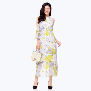 Đầm Maxi Hoa Cut Out Vai