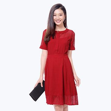 Đầm Xòe Phối Ren Bi