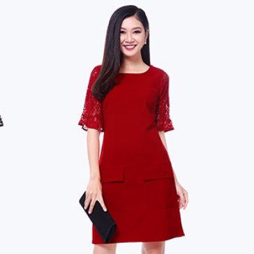 Đầm Suông Tay Ren Loe Phối Túi