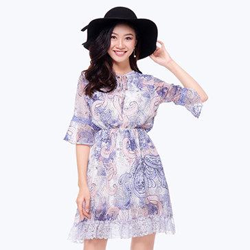 Đầm Tay Loe Phối Ren