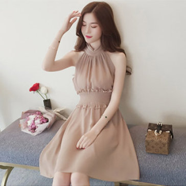 Đầm Cổ Yếm Nhún Hana