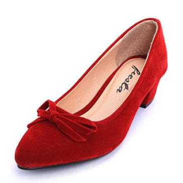Giày Mũi Nhọn Đính Nơ Thanh Lịch