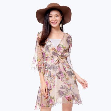 Đầm Hoa Mimi Kèm Áo Lá