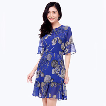 Đầm Hoa Nhí Tay Loe
