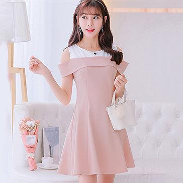 Đầm Xòe Cut Out Phối Màu