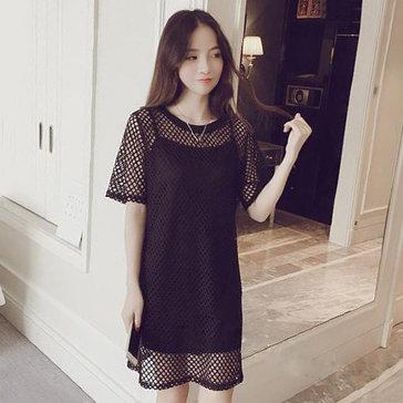 Đầm Suông Lưới Kèm Đầm Lót Street Styles