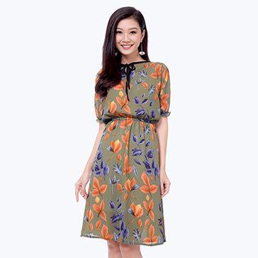 Đầm Hoa Nơ Cổ
