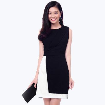 Đầm Cổ Vest Phối Màu