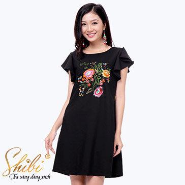 Đầm Dự Tiệc Thêu Hoa Shibi SB111