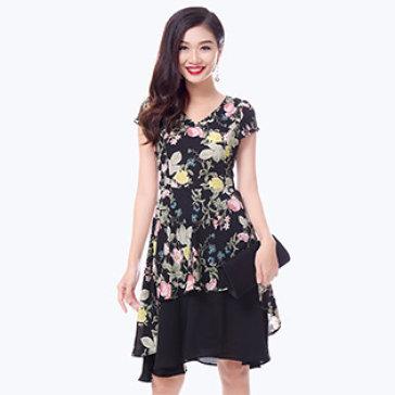 Đầm Hoa 2 Lớp Vạc Cách Điệu