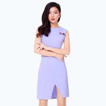 Đầm Công Sở Vạc Chéo Đính Hoa