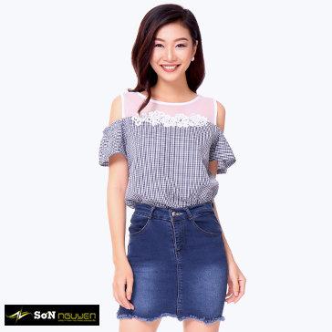 Áo Kiểu Caro Phối Ren-29001-TH Sơn Nguyễn