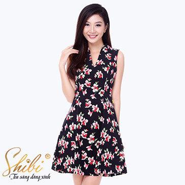 Đầm Công Sở Họa Tiết Shibi SB120