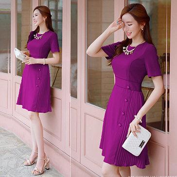 Đầm Vintage Nút Xếp Ly