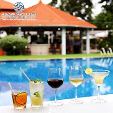 Vé Bơi + 1 Ly Cocktail/ Rượu Vang Tại Biệt Thự Sang Trọng Pendula Garden - Saigon Social Space