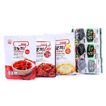 Combo 03 Gói Bánh Gạo Topokki (03 Hương) + Tặng 01 Rong Biển Nướng Dầu Oliu
