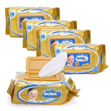 Combo 5 Gói Khăn Ướt Em Bé Nuna Gold Chiết Xuất Từ Lô Hội 80 Miếng Không Mùi