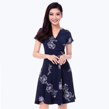 Đầm Hoa Vintage Cổ Chéo