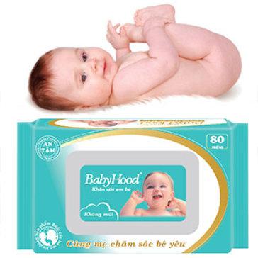 Combo 5 Gói Khăn Ướt Em Bé Baby Hood 80 Miếng Không Mùi