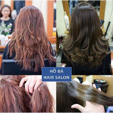 Combo Cắt + Gội + Sấy + Phục Hồi Tóc Khô Hư Tổn Với Bộ 3 Mibon Thần Kỳ Tại Hồ Bá Hair Salon