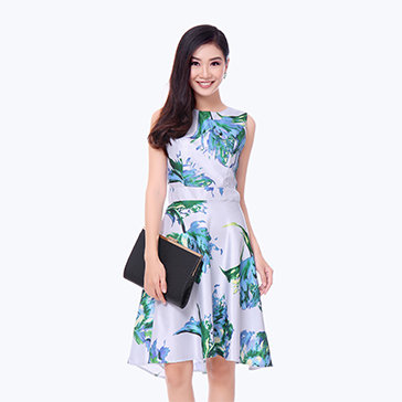 Đầm Hoa Xòe Thanh Lịch