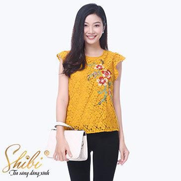 Áo Kiểu Thêu Hoa Shibi SA023